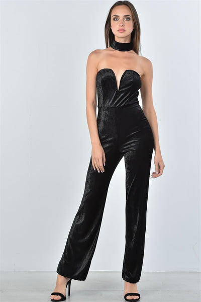 Ladies fashion black velvet plunging neck choker velvet jumpsuit