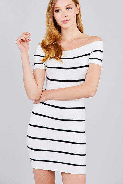 Short Sleeve Off The Shoulder Striped Mini Sweater Dress
