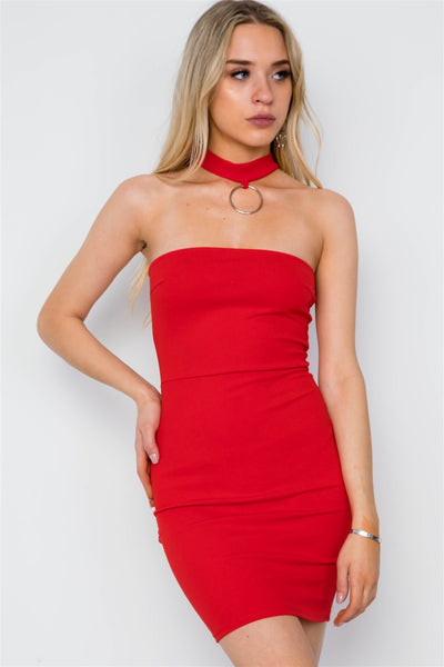 Bodycon Choker Neck Mini Dress