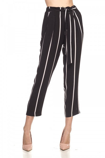 Stripe Belted Bubble Crepe Pants