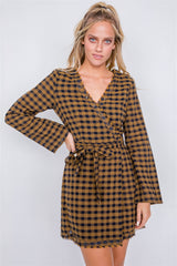 Plaid Checkered Grommet Raw Hem Mini Dress