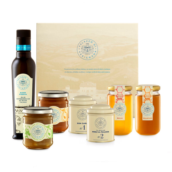 Palazzo Selection 2 (Italian Olive Oil, Italian Jam, Tea Box, 2 Italian Honey Jars)