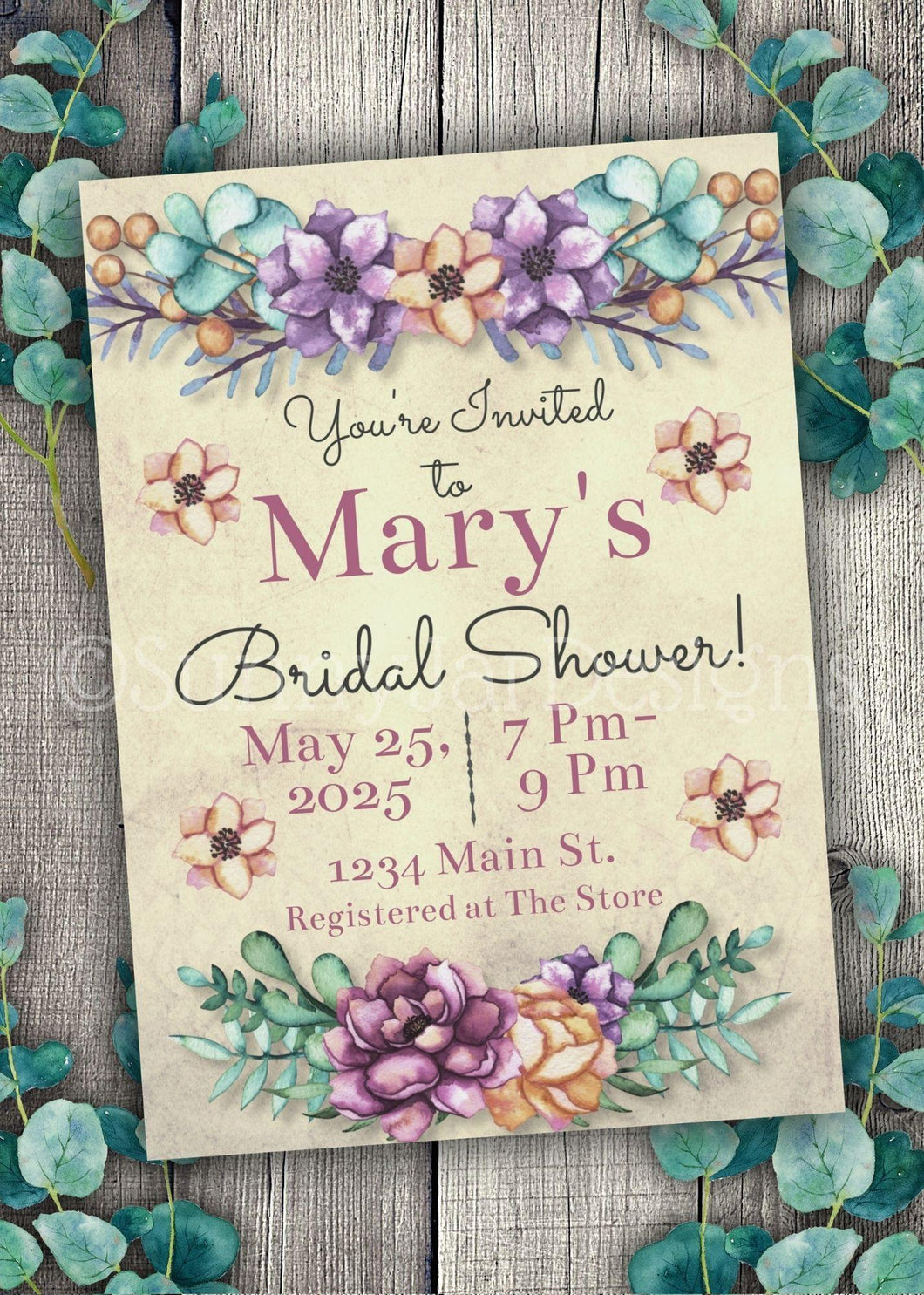 Bold Floral Bridal Shower Invitation