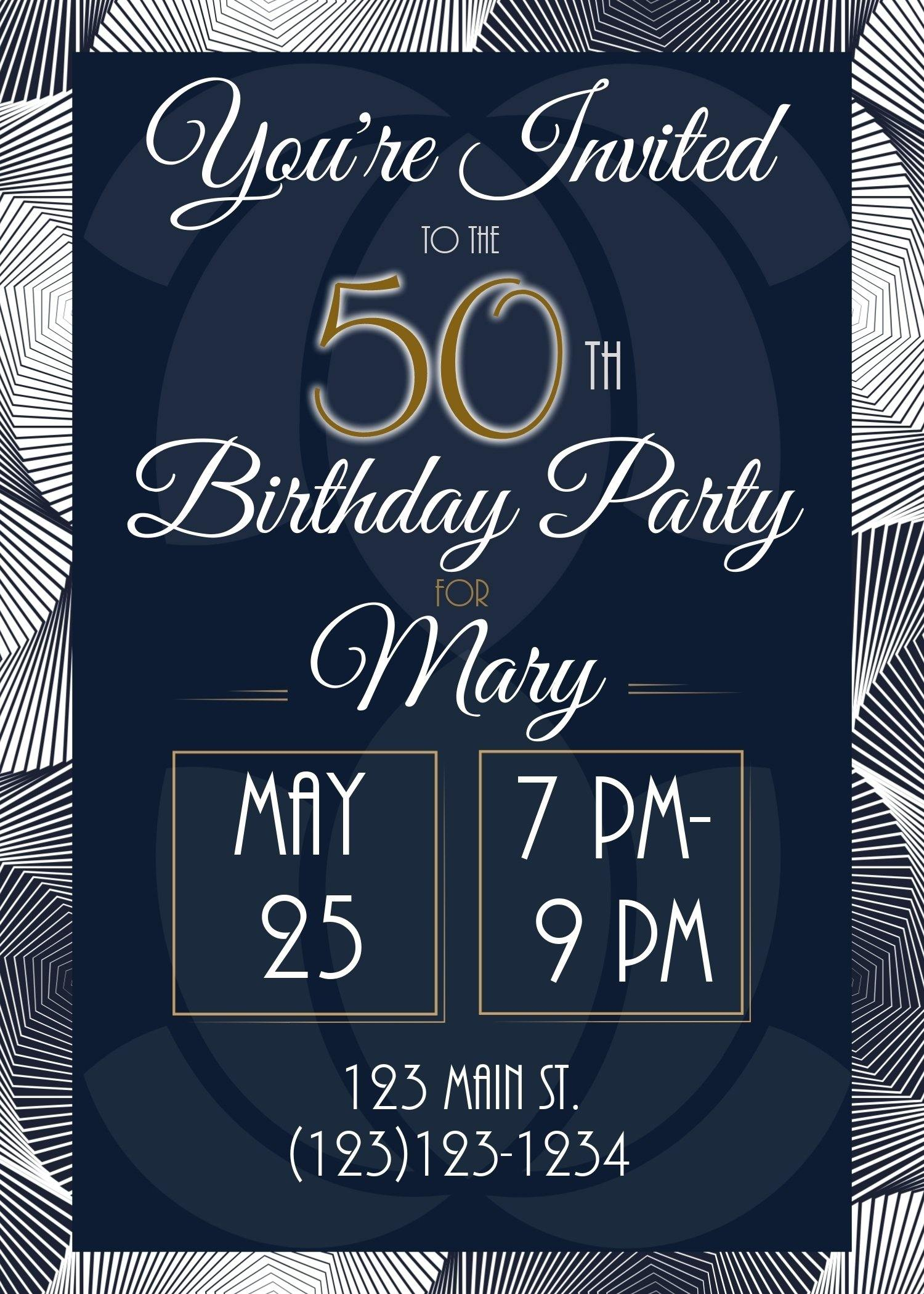 50th/Milestone Party Invitation (Editable Download) - Sunny Jar Designs