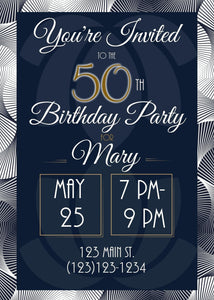 Elegant 50th Birthday Party Invitation-Sunny Jar Designs