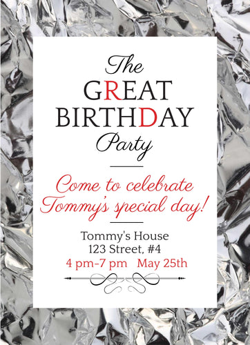 The Great  Birthday Party Invitation - Custom Design Party Invites and Personalized Announcements