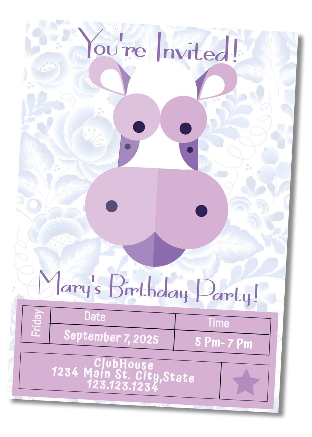 Purple Cow Party Invitation