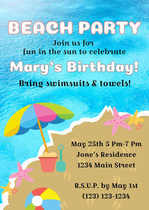 Beach Party Birthday Invitation-Sunny Jar Designs