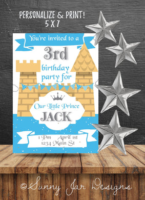Blue Castle Party Invitation - Sunny Jar Designs