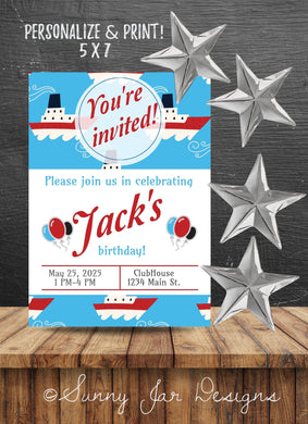 Boating Birthday Party Invitation - Sunny Jar Designs