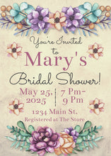 Load image into Gallery viewer, Bold Floral Bridal Shower Invitation - Sunny Jar Designs