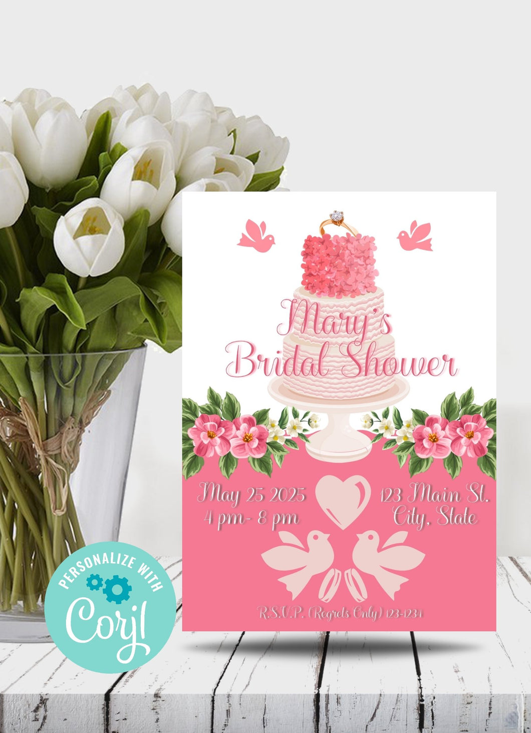 Bridal Shower Cake Party Invitation - Sunny Jar Personalized Designs