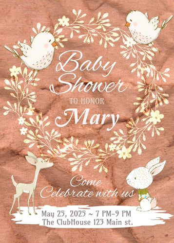 Bunny and Birds Baby Shower Invite - Custom Design Party Invites and Personalized Announcements