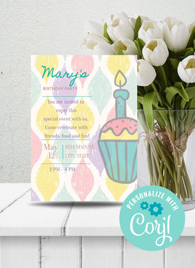 Cupcake Birthday Party Invitation-Sunny Jar Designs