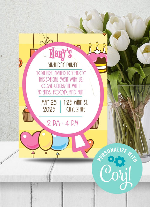 Cupcakes Birthday Party Invitation-Sunny Jar Designs