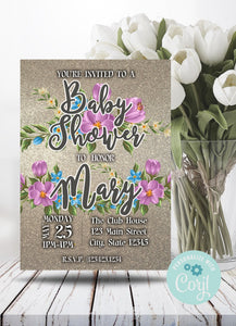 Blue - Pink Floral Baby Shower Party Invitation-Sunny Jar Designs