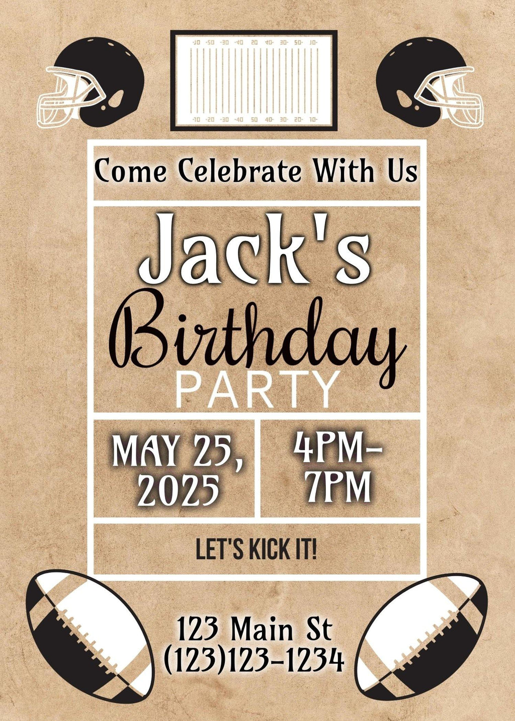 Football Birthday Invitation (EDITABLE DOWNLOAD) - sunny-jar-designs