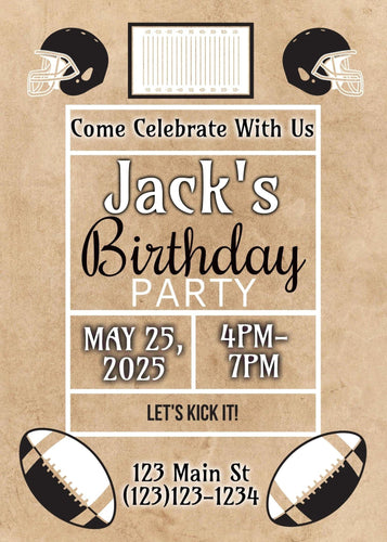 Football Birthday Party Invitation - Custom Design Party Invites and Personalized Announcements