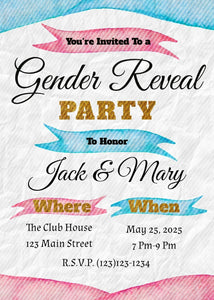 Pink and Blue Gender Reveal Party Invitation-Sunny Jar Designs