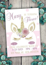 Load image into Gallery viewer, Glitter Unicorn  Party Invitation