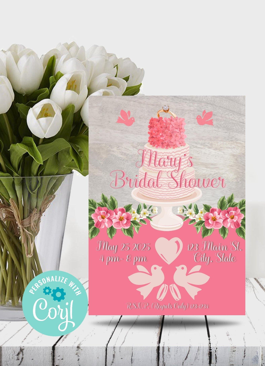 Gray Bridal Shower Cake Party Invitation-Sunny Jar Designs