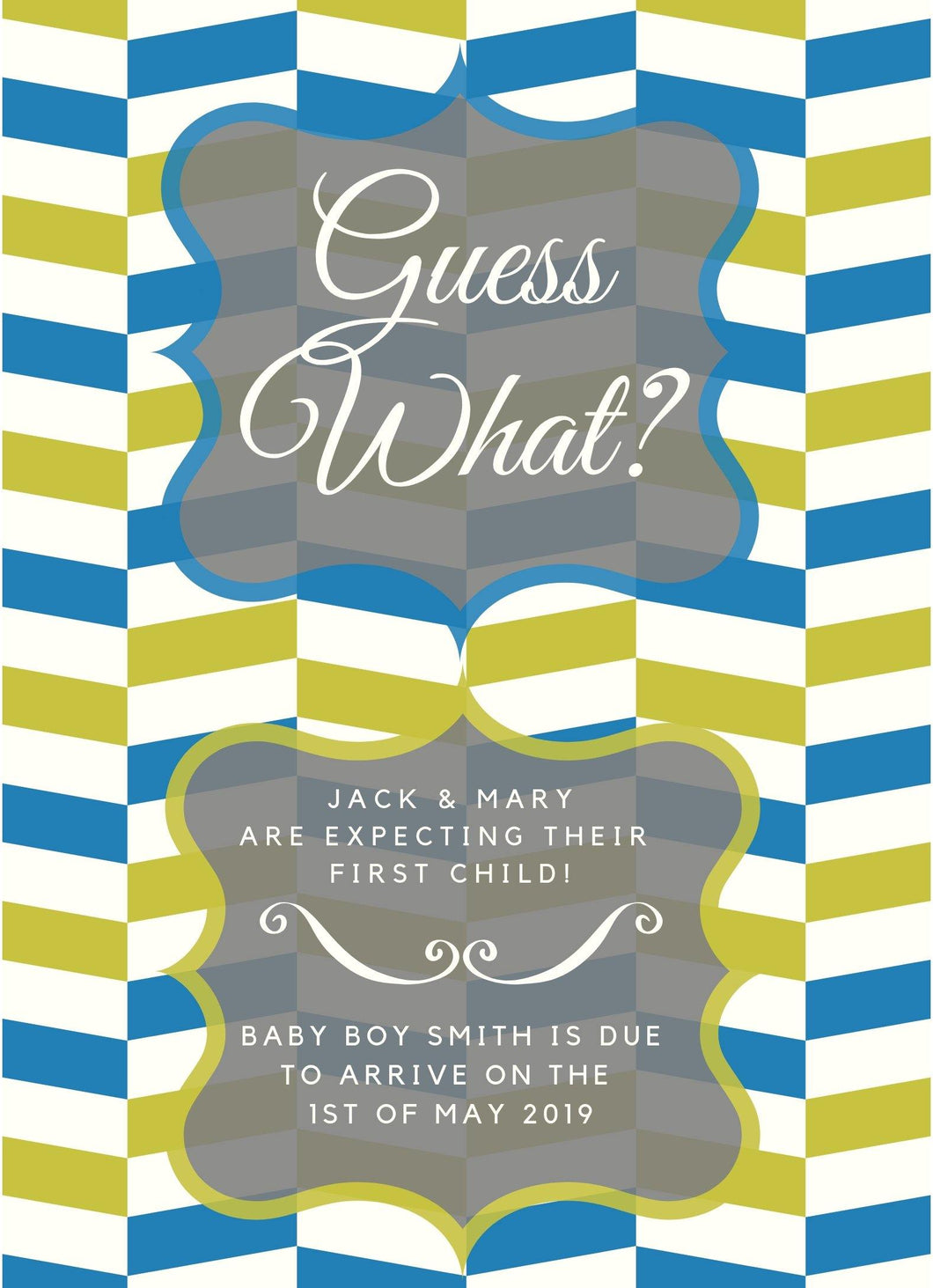 GreenBlue Custom Baby Boy Announcement - Custom Design Party Invites and Personalized Announcements