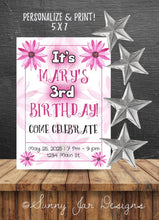 Load image into Gallery viewer, Hot Pink Flower Birthday Party Invitation-Sunny Jar Designs