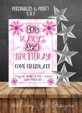 Hot Pink Flower Party Invitation-Sunny Jar Designs