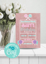 Load image into Gallery viewer, Lollipop Birthday Party Invitation-Sunny Jar Designs