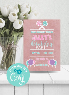Lollipop Birthday Party Invitation-Sunny Jar Designs