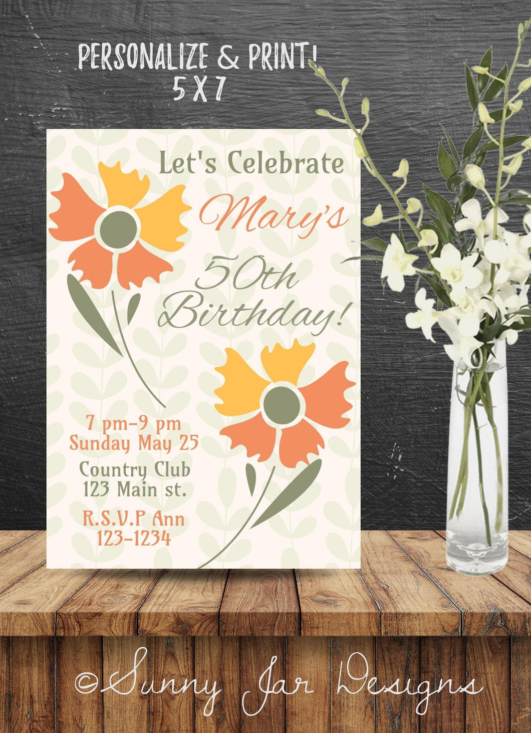 Milestone Floral Party Invitation-Sunny Jar Designs