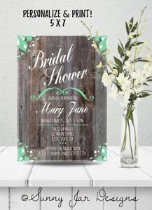 Mint Green Bridal Shower Party Invitation-Sunny Jar Designs