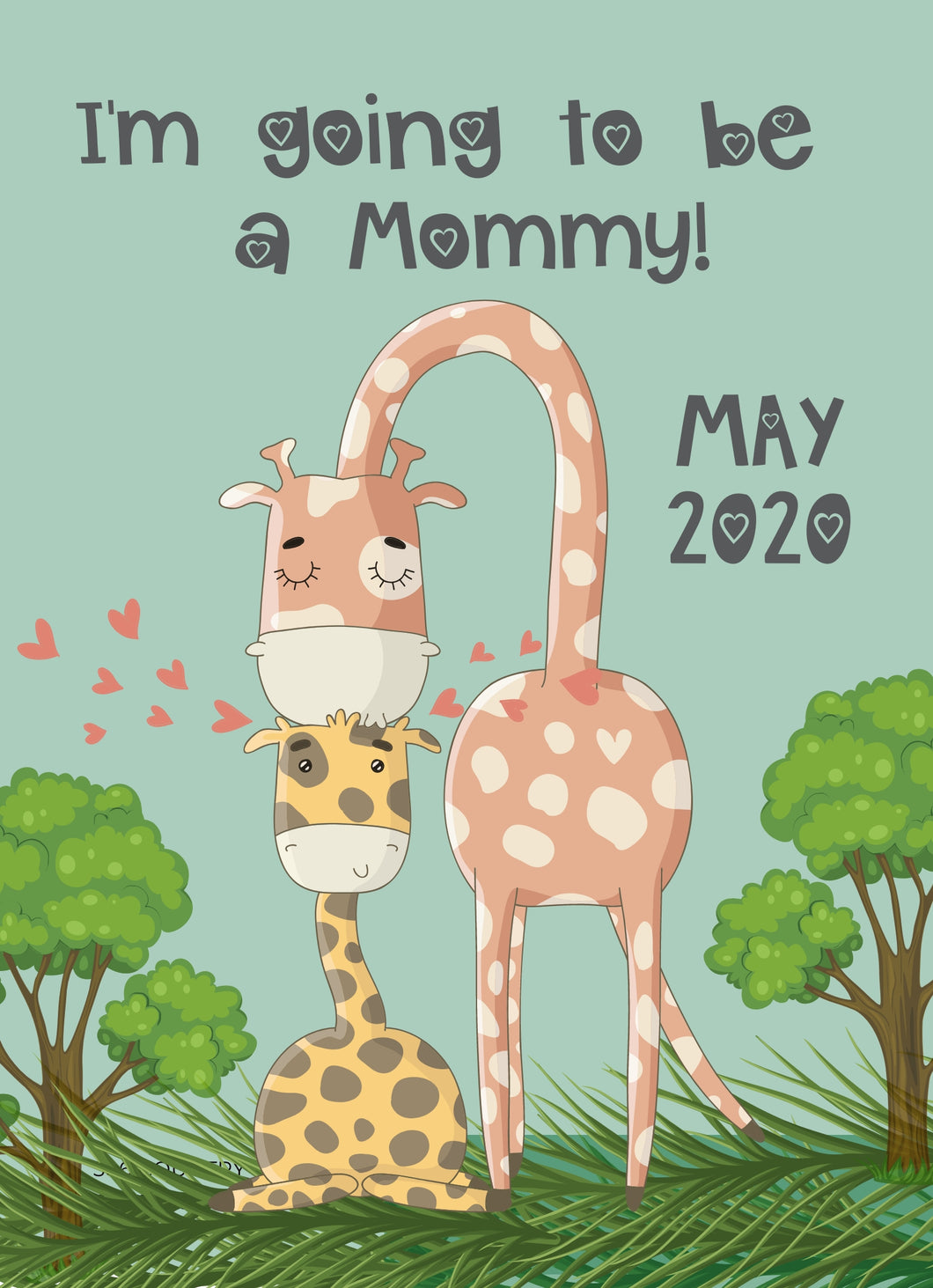 Giraffe Mommy-to-be Announcement-Sunny Jar Designs