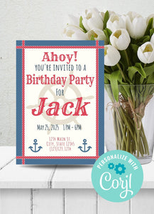 Nautical Themed Party Invitation-Sunny Jar Designs
