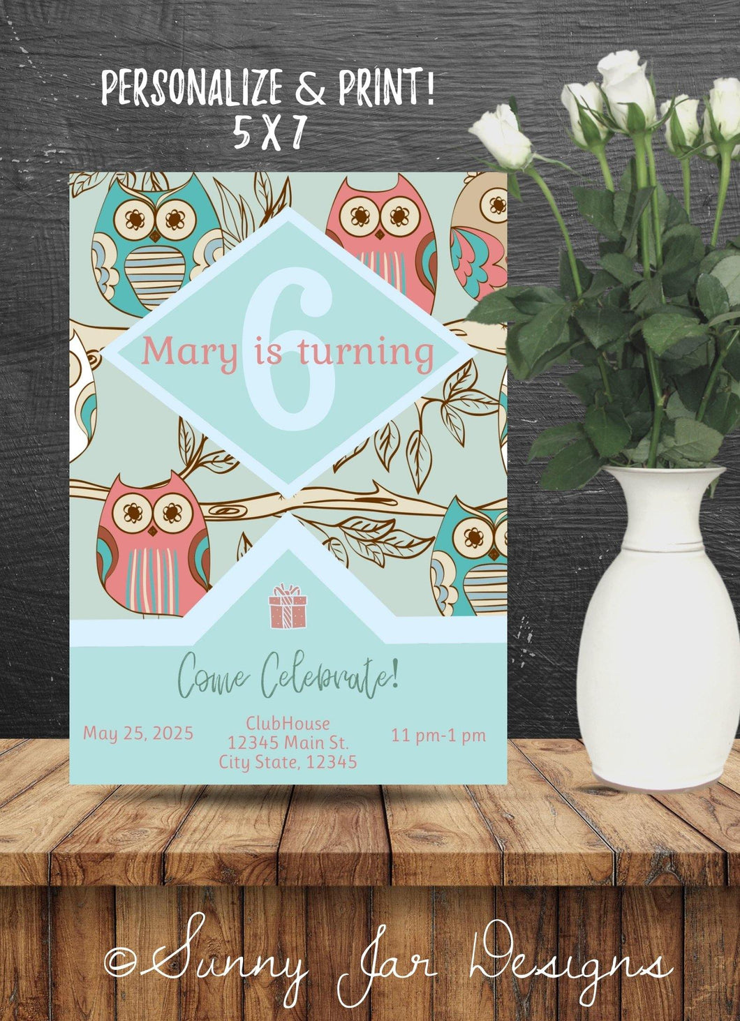 Owl Birthday Party Invitation-Sunny Jar Designs