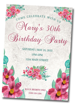 Load image into Gallery viewer, Pink Peony Birthday Invitation - Sunny Jar Designs