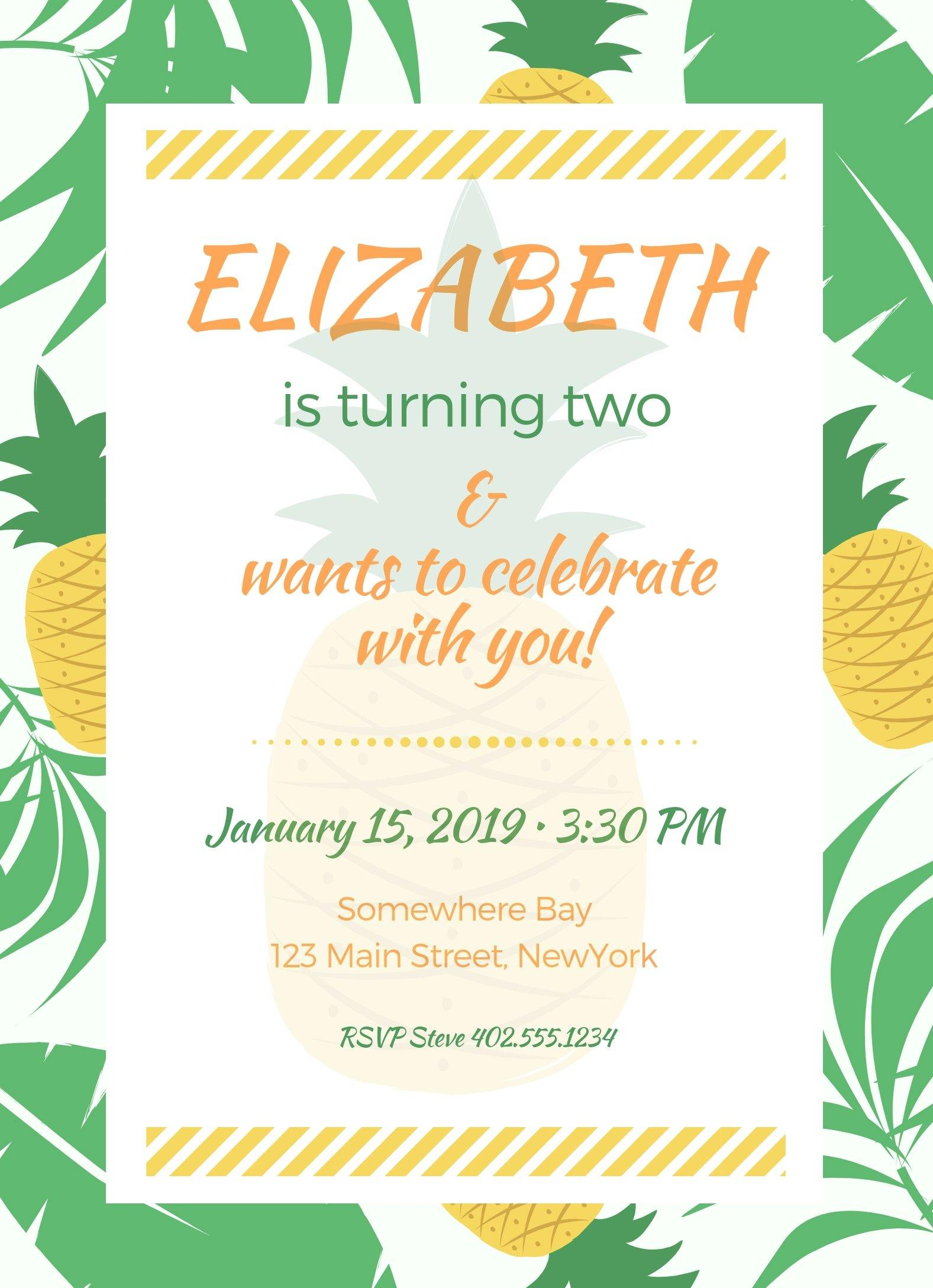 Pineapple Birthday Party Invitation Editable Download - Sunny Jar Designs