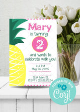 Load image into Gallery viewer, Pineapple Birthday Party Invitation-Sunny Jar Designs
