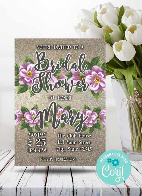 Pink and Purple Bridal Shower Party Invitation-Sunny Jar Designs