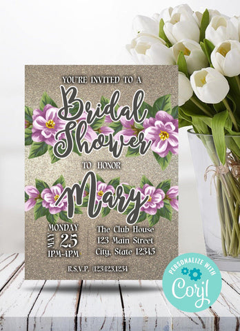 Pink and Purple Bridal Shower Party Invitation