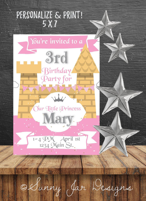Pink Castle Party Invitation-Sunny Jar Designs