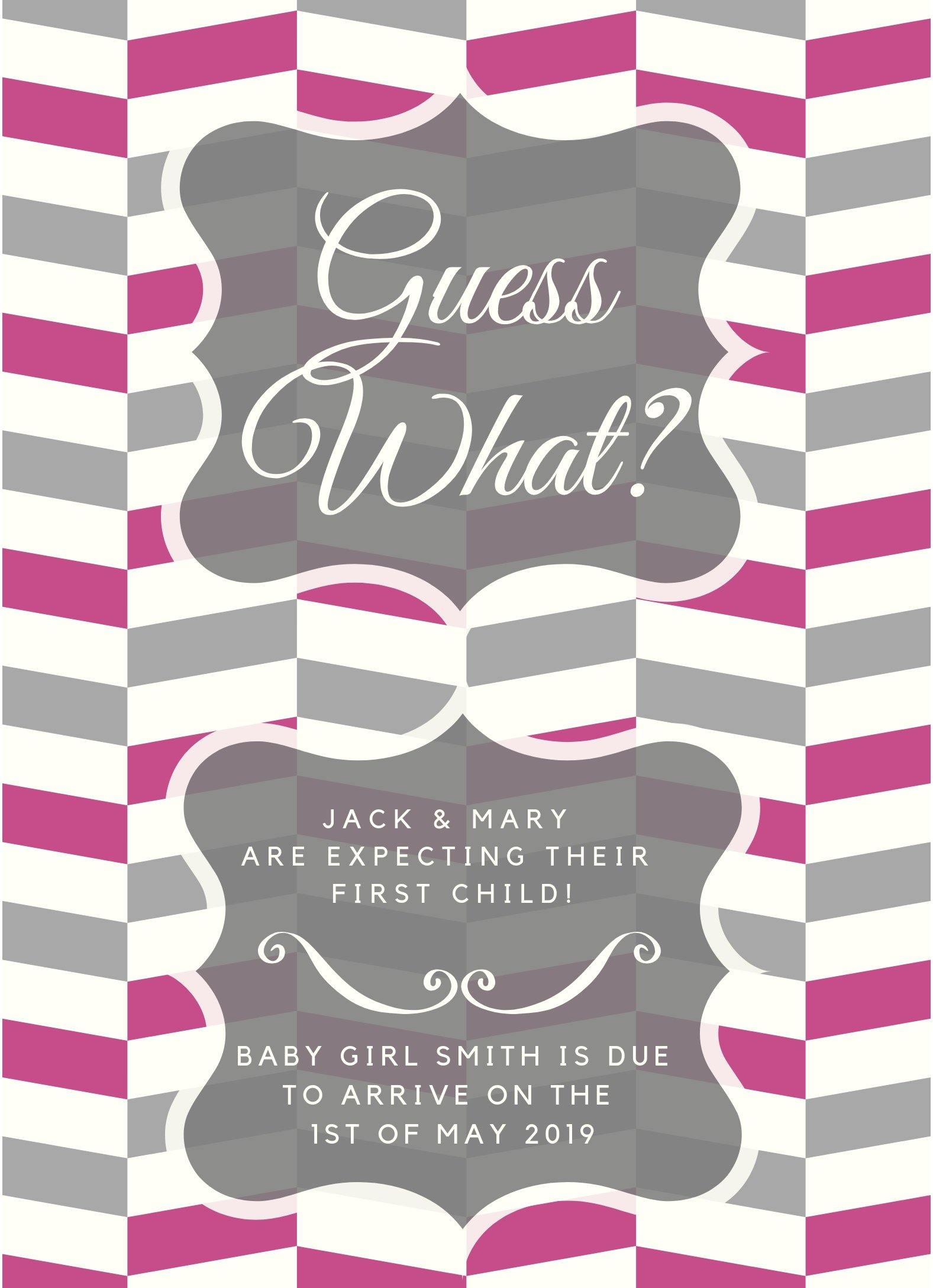 Baby Girl Pink Announcement Editable Download - sunny-jar-designs