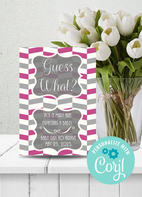 Pink-Gray Chevron Baby Announcement-Sunny Jar Designs