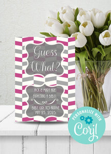 Baby Girl | Pink and Gray Chevron Announcement-Sunny Jar Designs