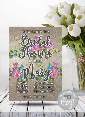 Purple Blue Flowers Bridal Shower Party Invitation-Sunny Jar Designs