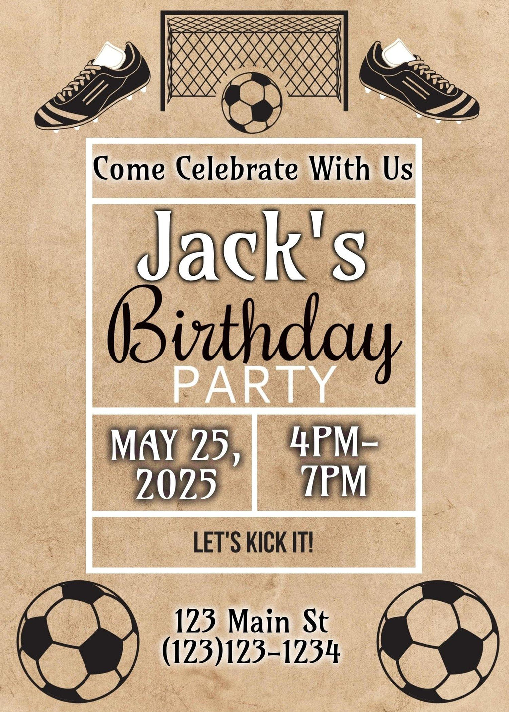 Soccer Birthday Invitation (EDITABLE DOWNLOAD) - sunny-jar-designs