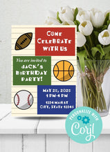 Load image into Gallery viewer, Sports Theme Birthday Party Invitation -Shop for Sports Theme Birthday Party Invitation