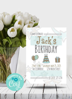Starry Birthday Party Invitation-Sunny Jar Designs