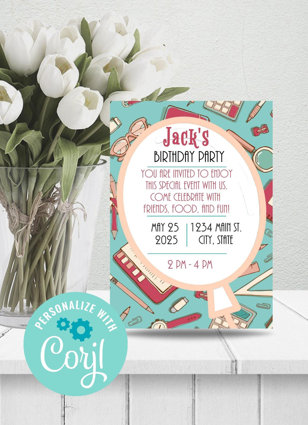 Student Themed Birthday Party Invitation-Sunny Jar Designs
