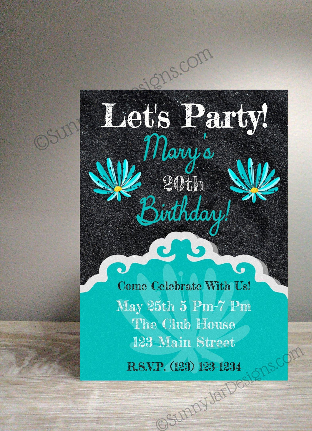 Teal Flower Milestone Party Invitation-Sunny Jar Designs